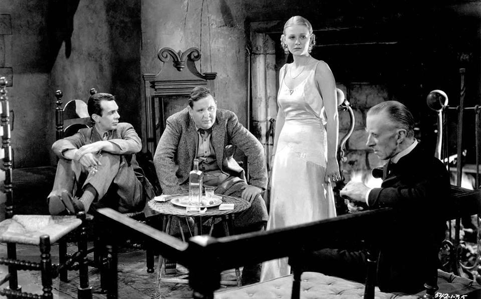 Raymond Massey, Charles Laughton, Gloria Stuart and Ernest Thesige