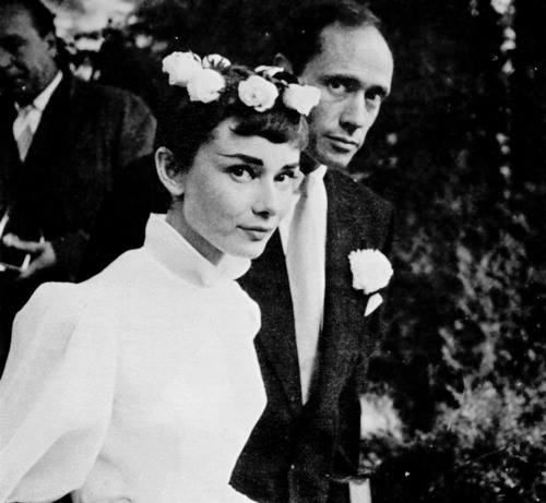 Audrey Hepburn married actor Mel Ferrer in Switzerland.