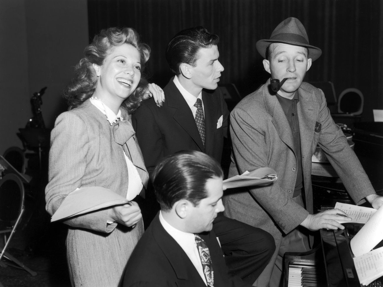 Bing Crosby with Dinah Shore and Frank Sinatra