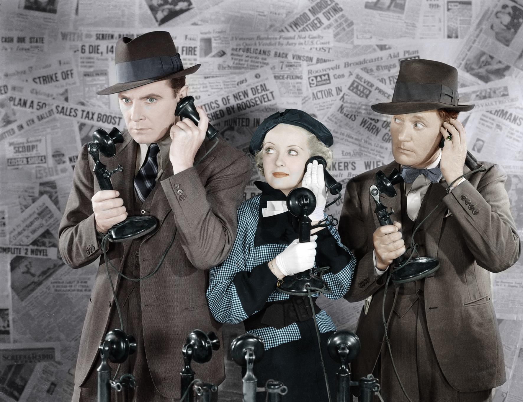 George Brent, Bette Davis, Roscoe Karns