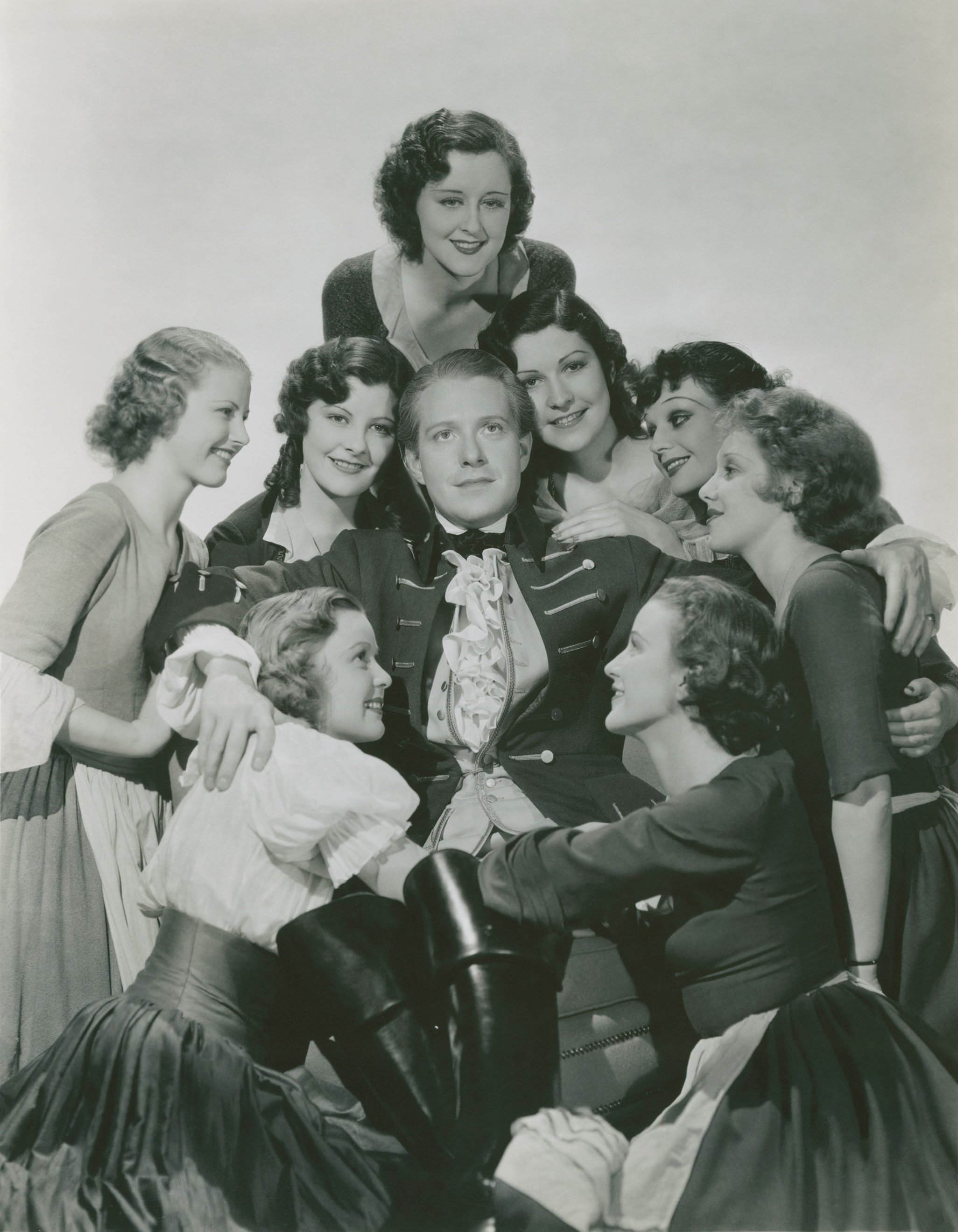 Mary Doran, Unknown, Unknown, Kay English, Patricia Farley, Cecilia Parker, Jean Chatburn, Unknown, Nelson Eddy