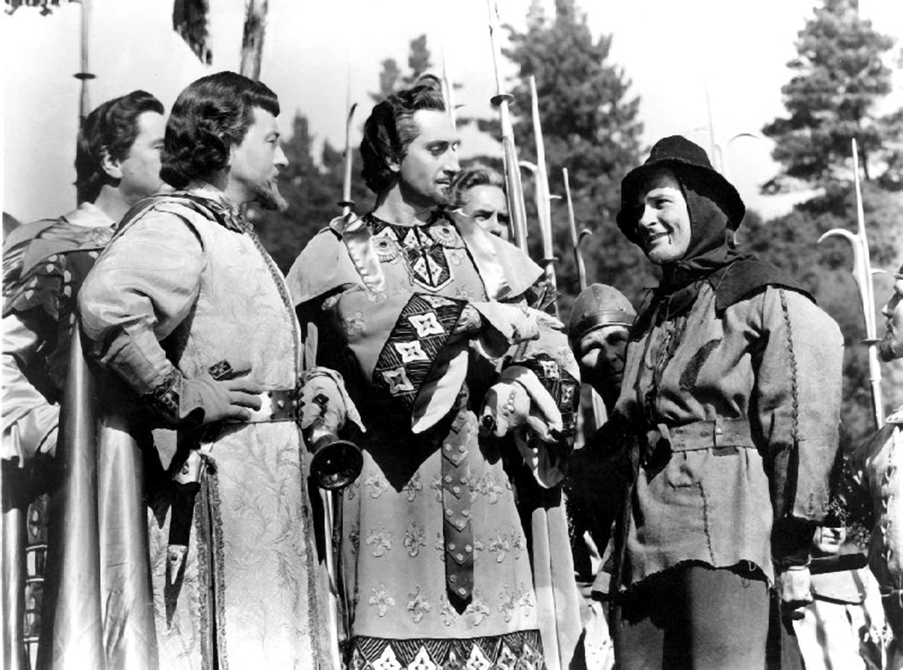 Errol Flynn With Claude Rains and Basil Rathbone