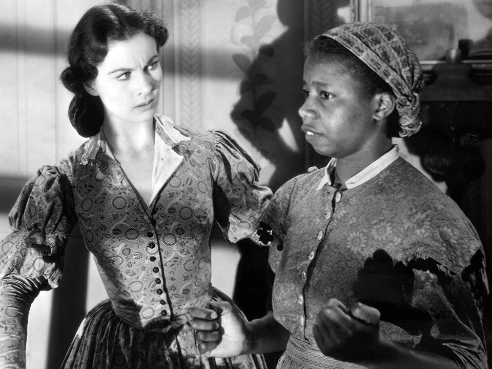 Butterfly McQueen (right) appeared as Prissy, Scarlett O'Hara's maid, in the 1939 film Gone with the Wind. She is pictured with Vivien Leigh. Butterfly was born on January 7, 1911.
