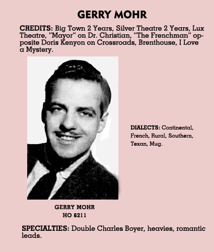 We love these old radio calling cards. Who knew that Gerald Mohr billed himself as a substitute for Charles Boyer