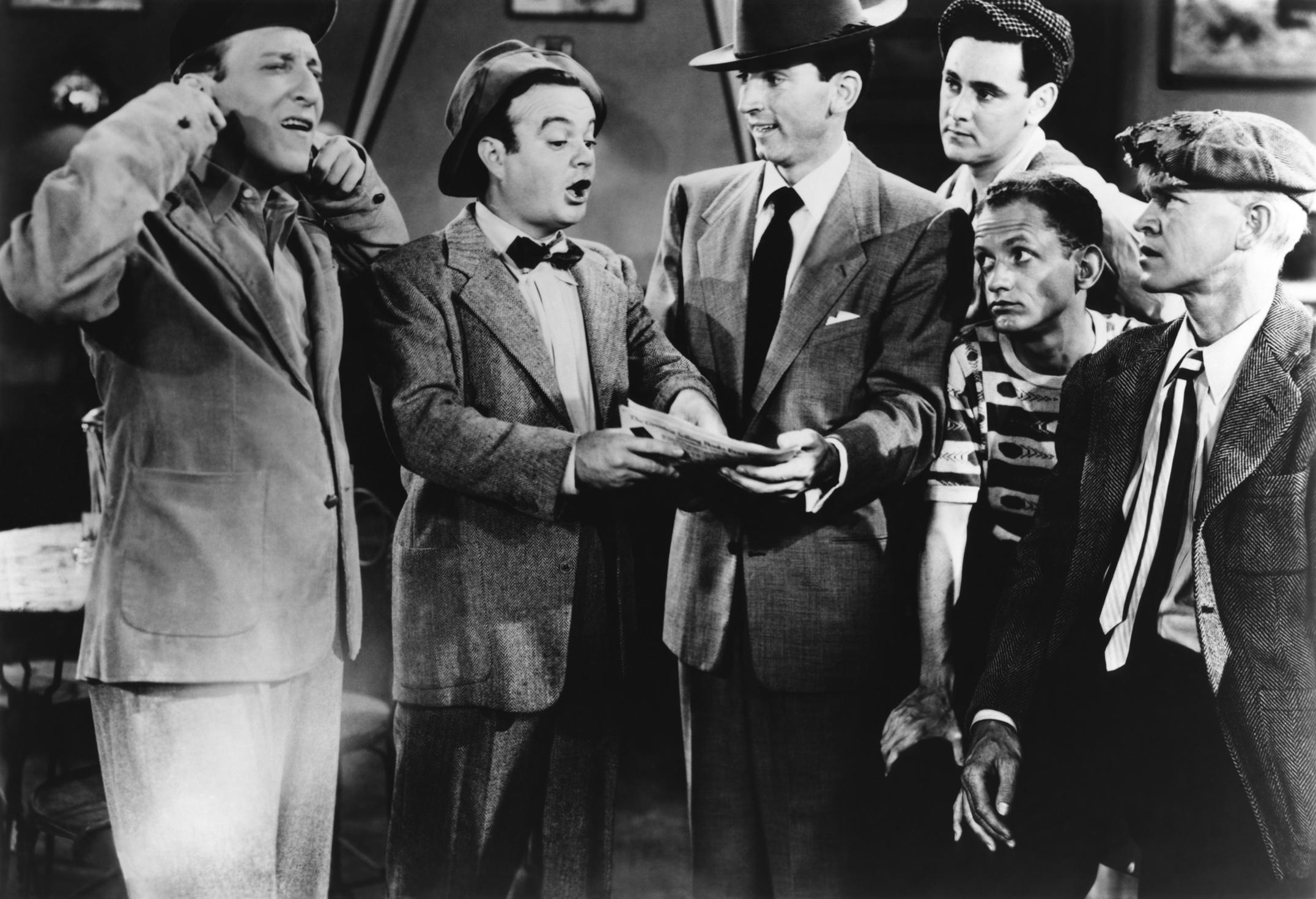 Leo Gorcey....(L to R) Huntz Hall, Leo Gorcey, Gabriel Dell, David Gorcey, Unknown, Billy Benedict