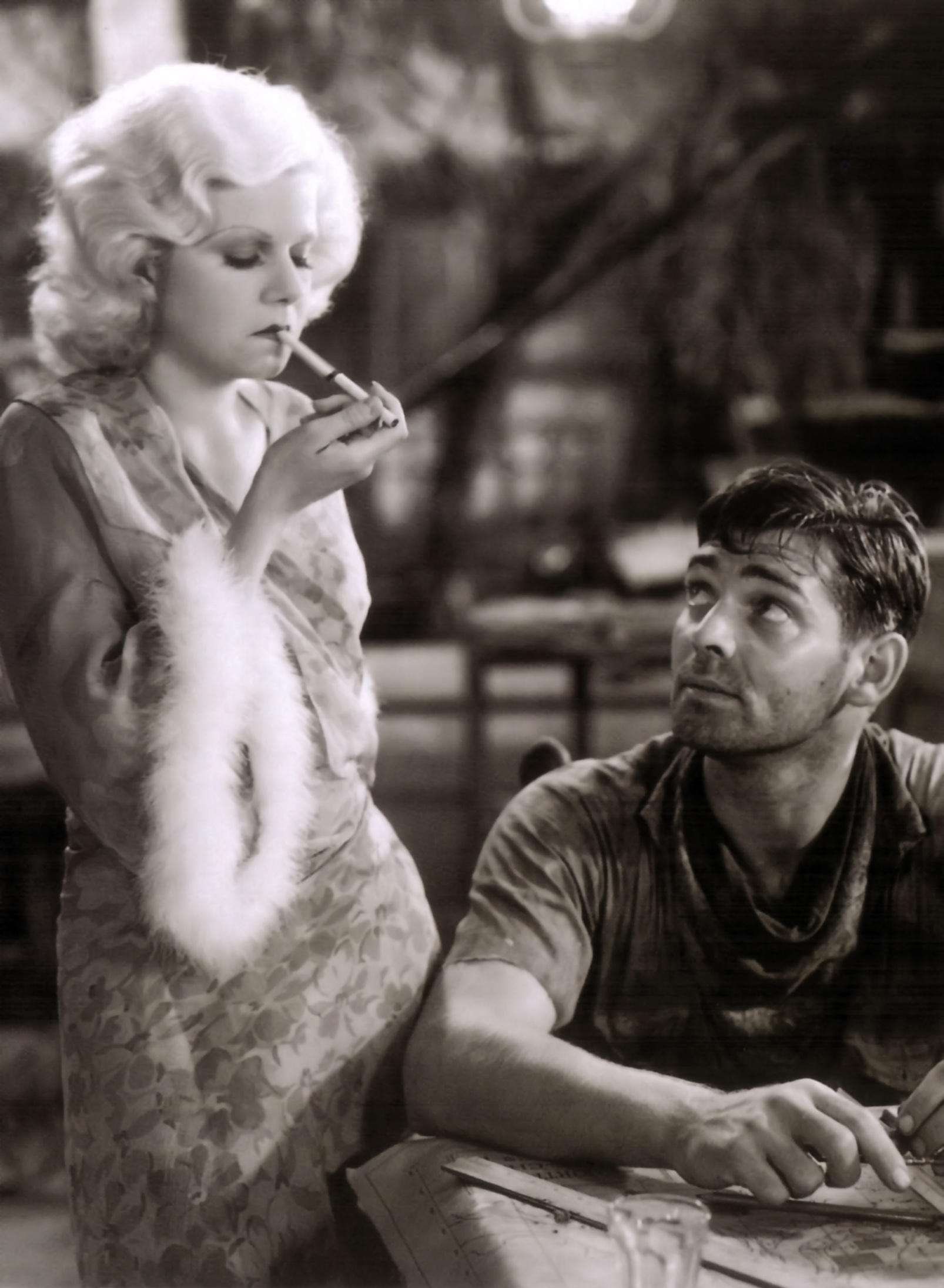 Jean Harlow in Red Dust With Clark Gable