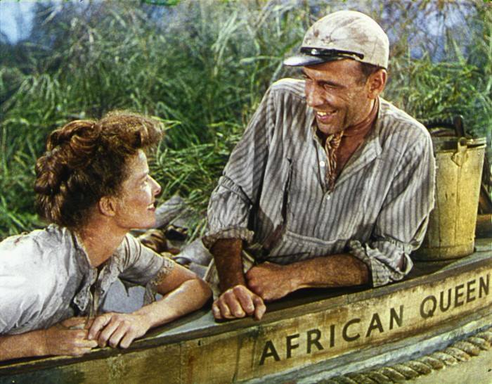 The African Queen, starring Humphrey Bogart and Katharine Hepburn, went into general release on this day in 1952. It was one of five and one-half films Bogie made that were directed by John Huston (Huston joined the Army during WWII while he was in the middle of directing Across the Pacific). Bogart and Huston each won one Oscar, and each did so while working with the other. Bogart won his only Oscar for The African Queen, and Huston won for The Treasure of the Sierra Madre.