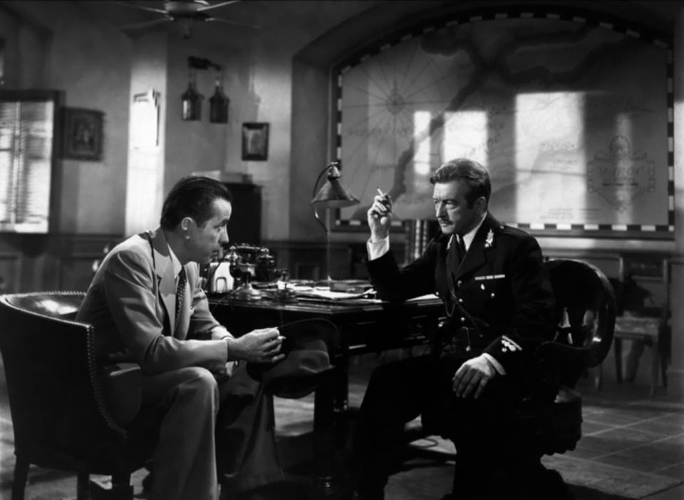 A wonderful shot of good friends Humphrey Bogart and Claude Rains on the set of Casablanca.