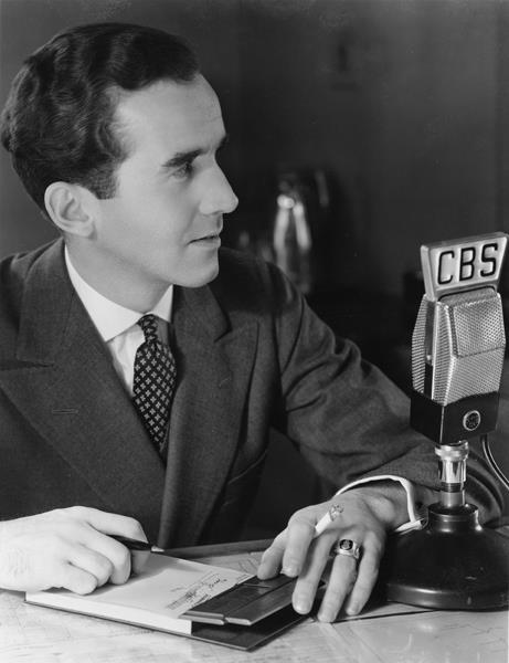 Edward R. Murrow--legendary new reporter/broadcaster for CBS News. Here he is, pictured broadcasting for the CBS Radio Network