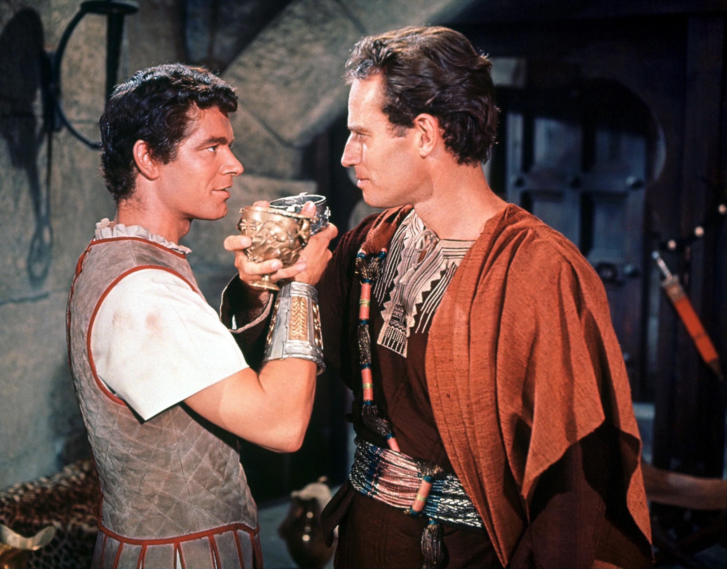 Charlton Heston in Ben-Hur With Stephen Boyd (L)