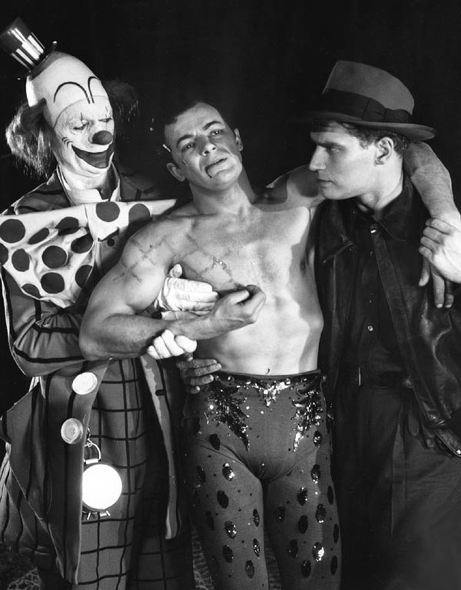 Charlton Heston in The Greatest Show on Earth with (L to R) James Stewart, Cornel Wilde, Charlton Heston