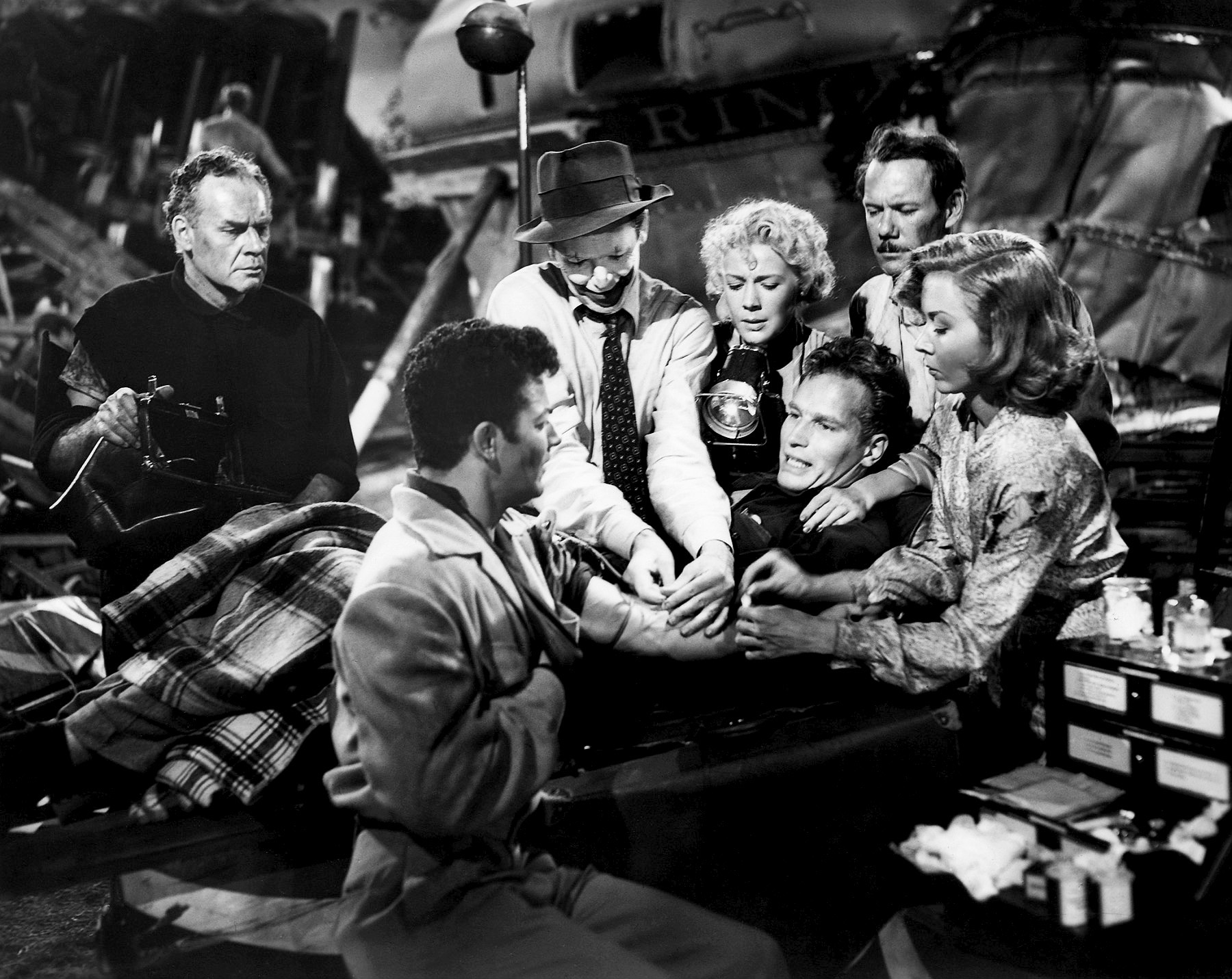 Charlton Heston in The Greatest Show on Earth with (L to R) Lane Chandler, Cornel Wilde, James Stewart, Betty Hutton, Charlton Heston, John Ridgely, Gloria Grahame