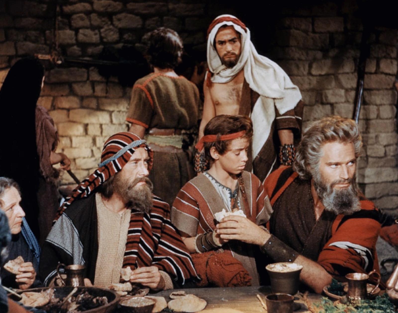 Charlton Heston in The Ten Commandments with (L to R) John Carradine, John Derek, Eugene Mazzola, Charlton Heston