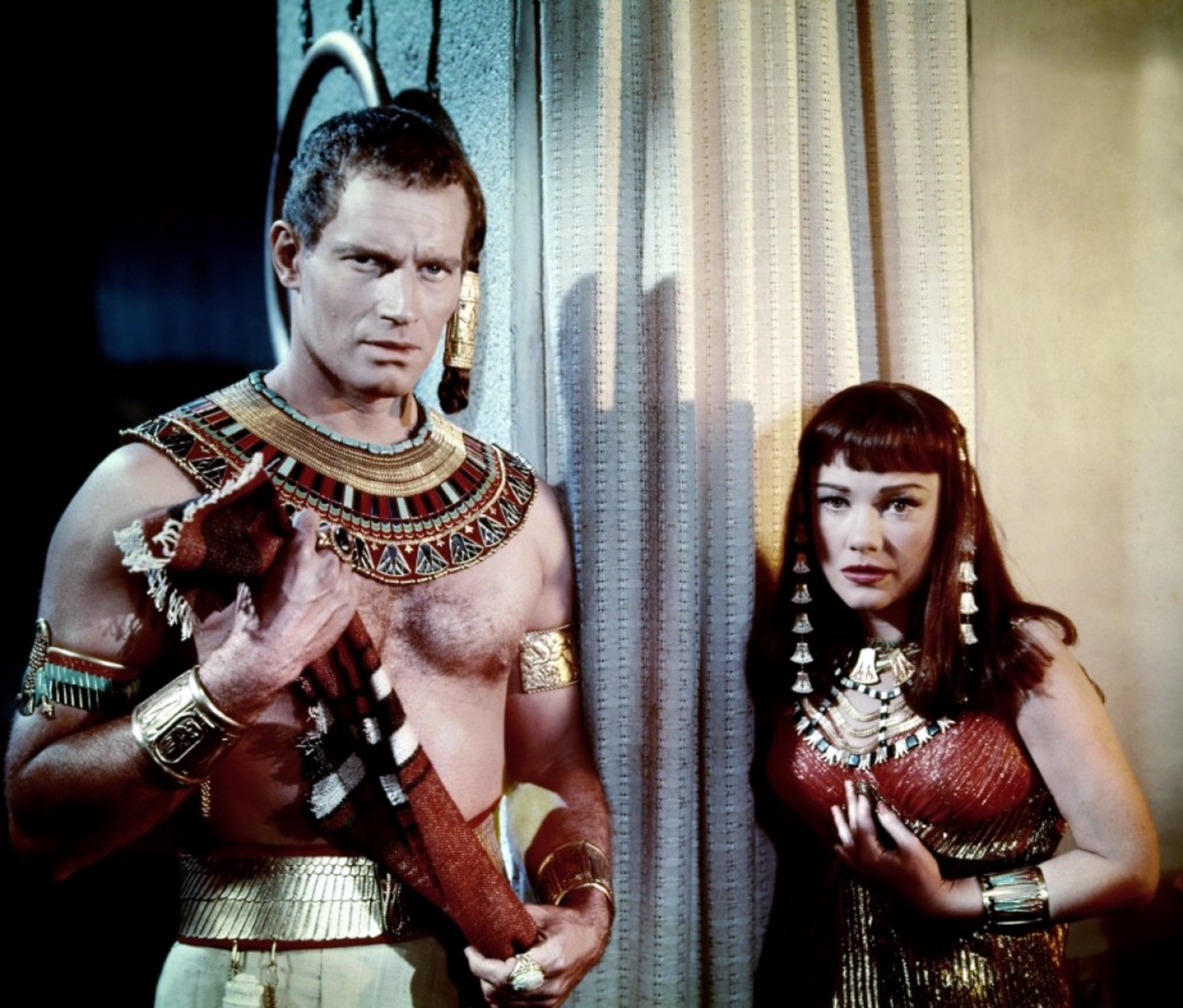 Charlton Heston in The Ten Commandments with With Anne Baxter
