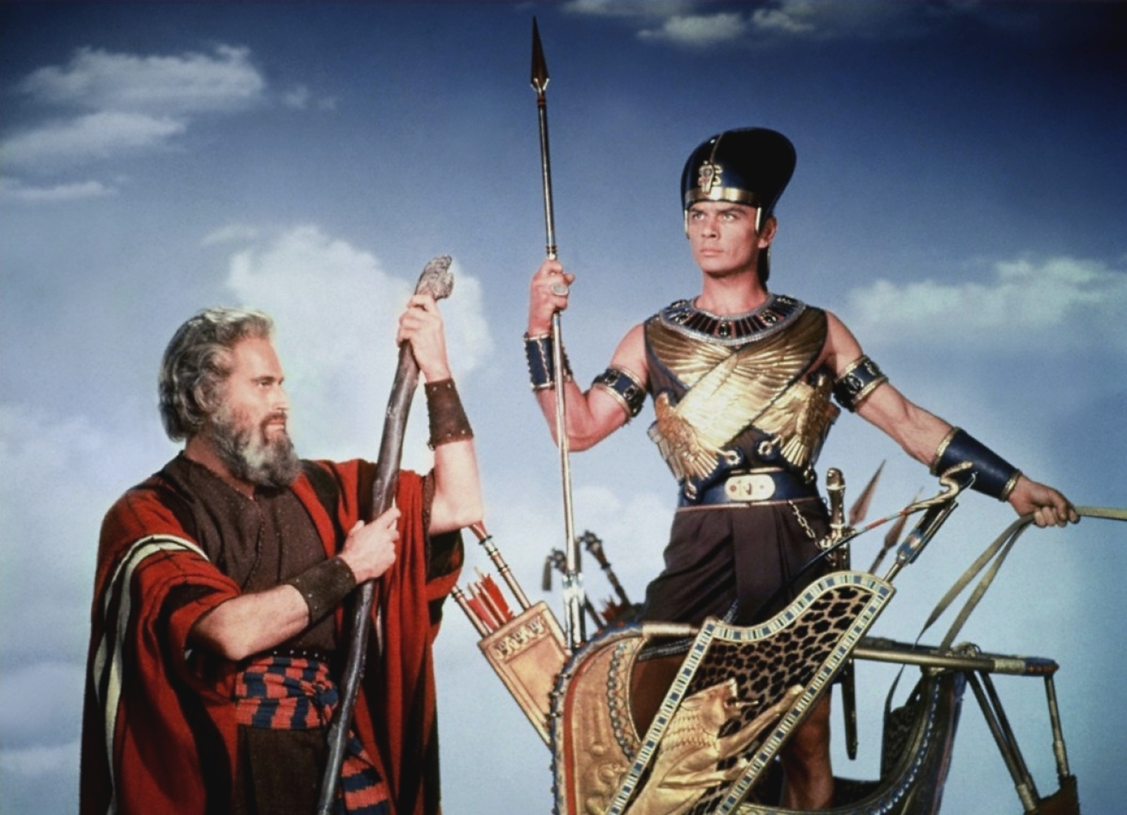 Charlton Heston in The Ten Commandments With Yul Brynner (R)