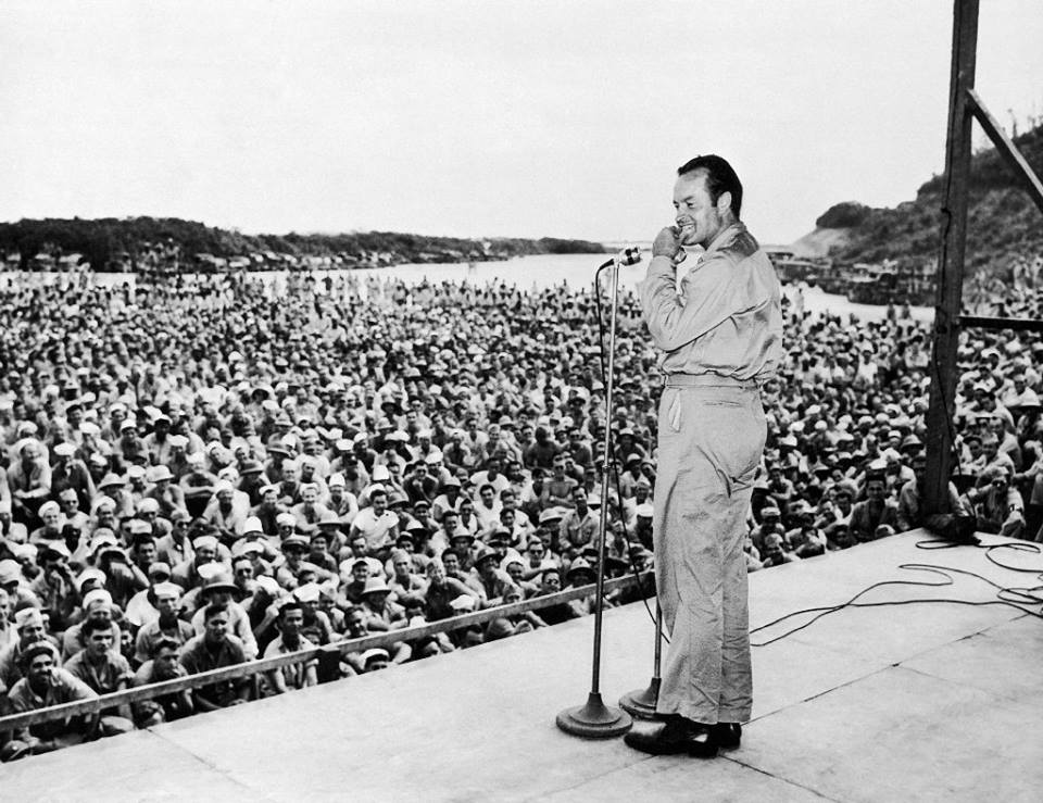 Hope entertaining the troops in 1944.