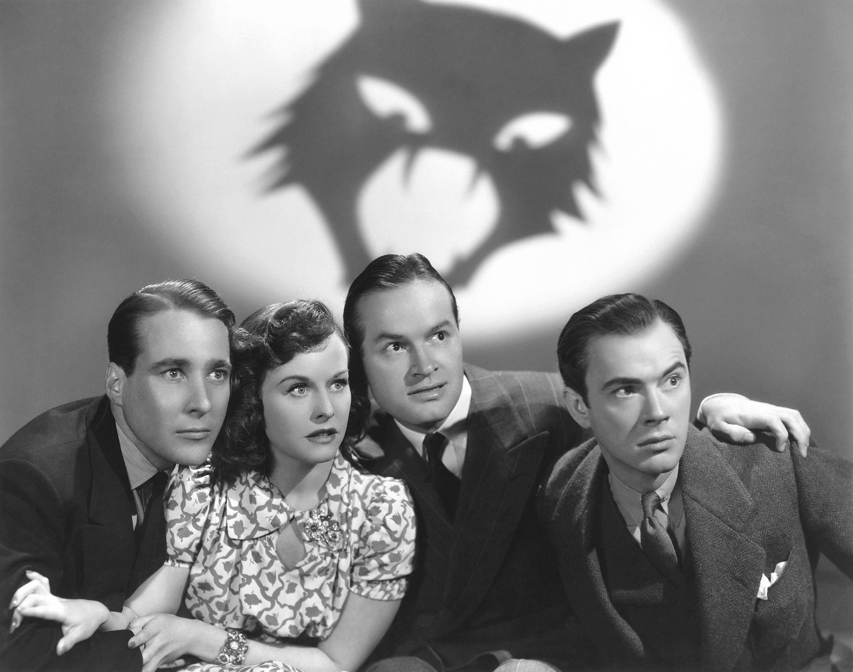 Bob Hope in The Cat and the Canary with (L to R) Douglass Montgomery, Paulette Goddard, Bob Hope, John Beal  (Courtesy of Sarah and Michelle)