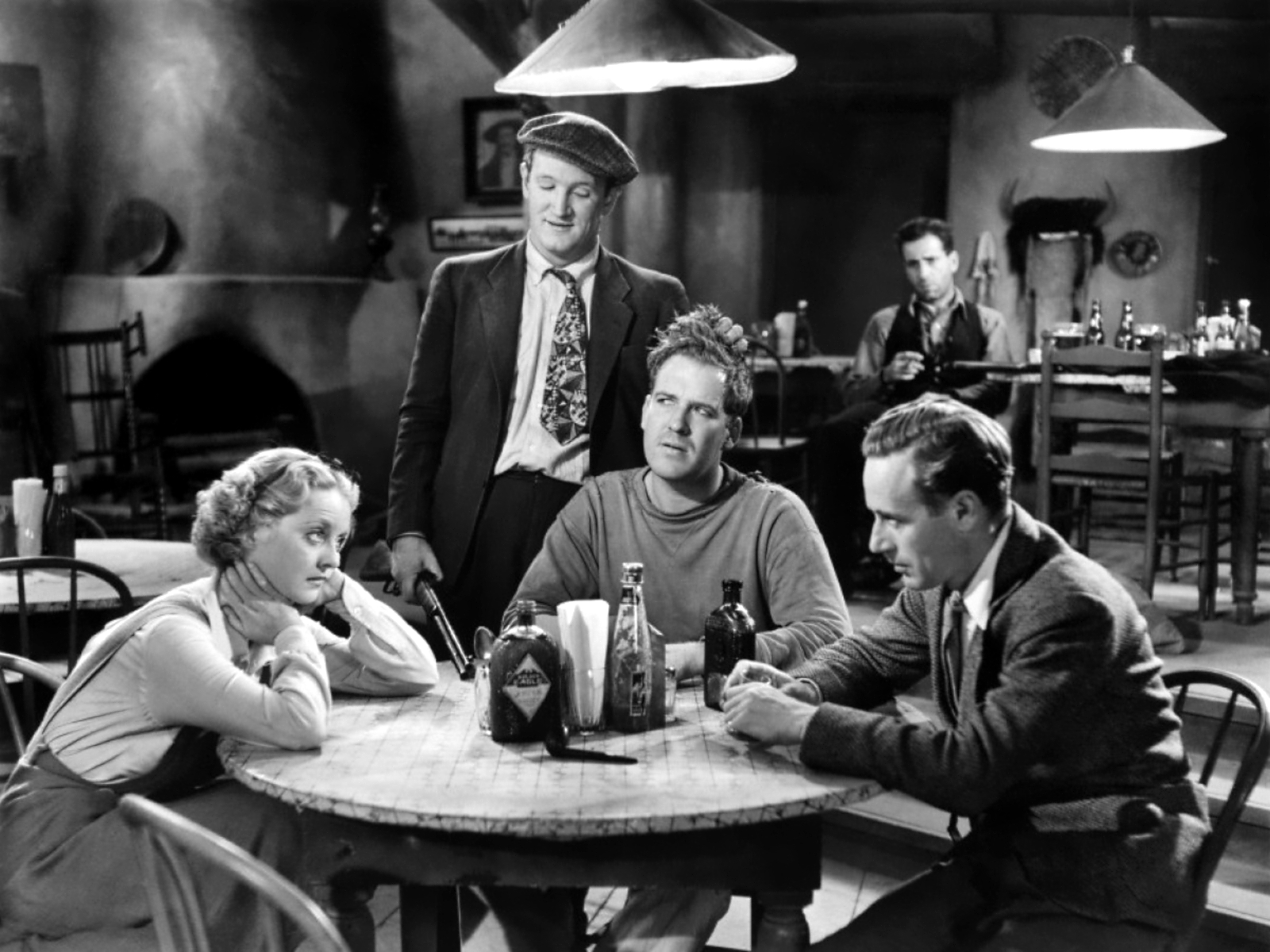 Leslie Howard in The Petrified Forest (L to R) Bette Davis, Joe Sawyer, Dick Foran, Humphrey Bogart, Leslie Howard