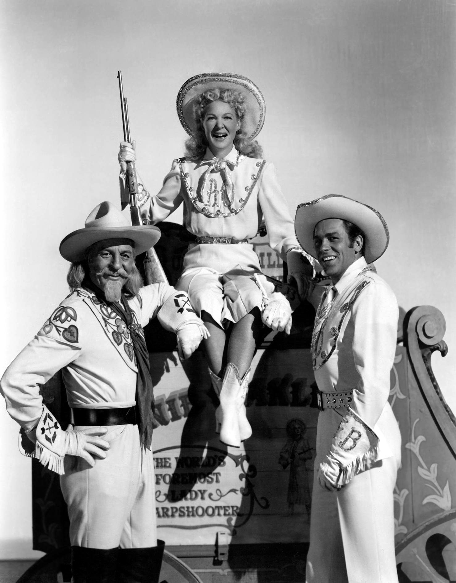 Betty Hutton in Annie Get Your Gun (L to R)Louis Calhern, Betty Hutton, Howard Keel