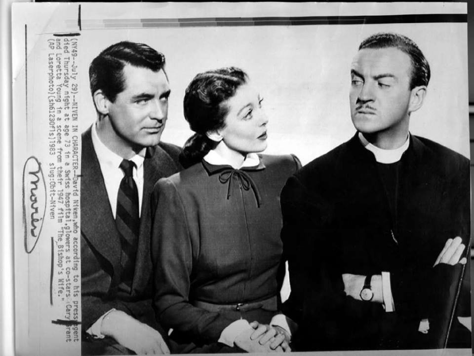 Cary Grant, Loretta Young and David Niven in the 1947 romantic fantasy holiday film,