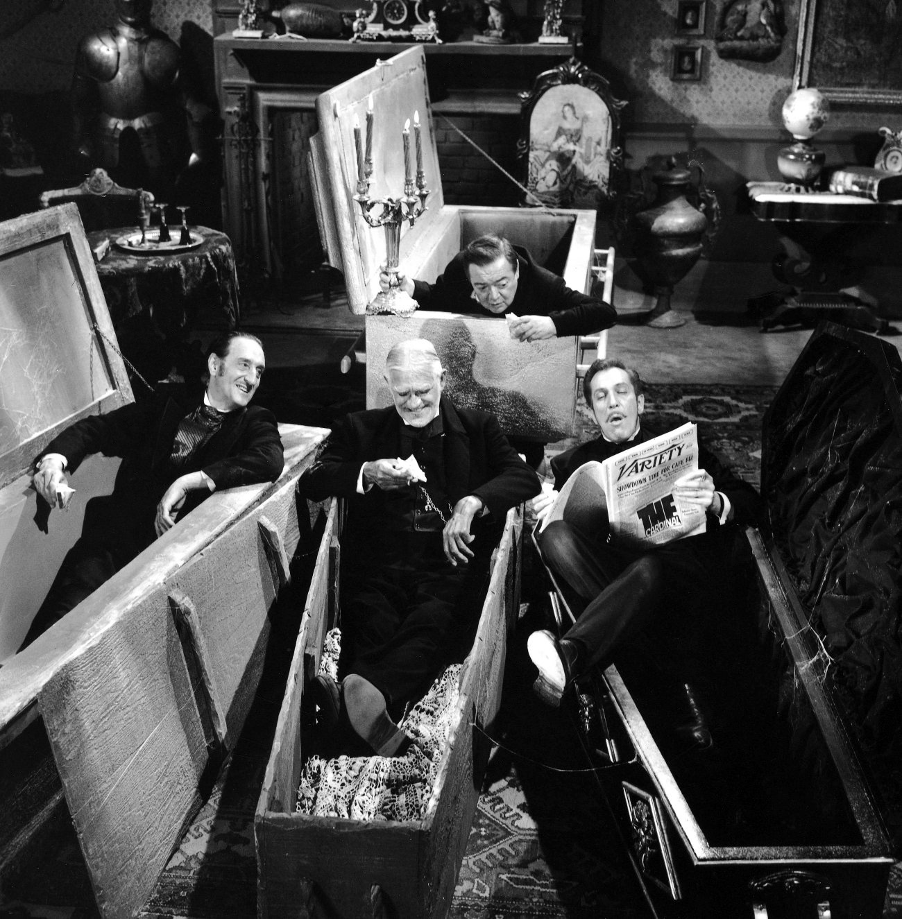 Basil Rathbone, Boris Karloff, Peter Lorre, Vincent Price