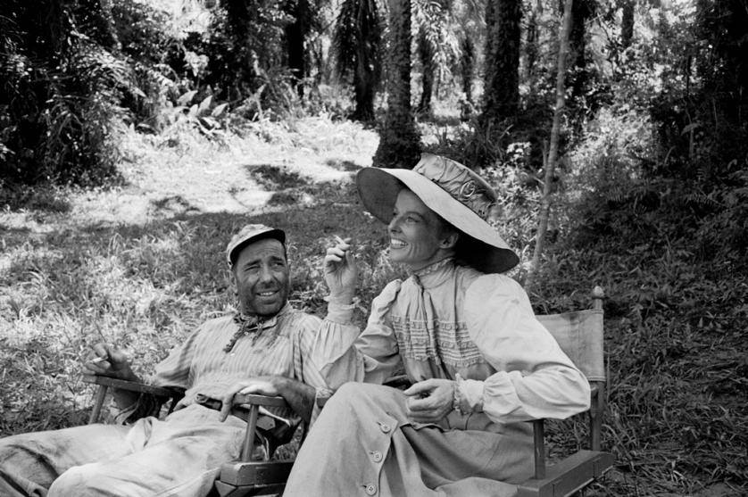 Humphrey Bogart on Katharine Hepburn during the filming of The African Queen