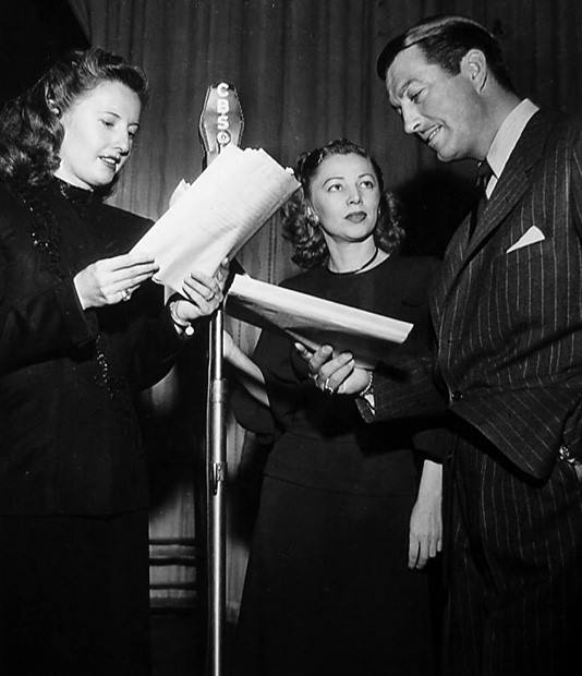 Isabel Jewell joins Barbara Stanwyck and Robert Taylor on a radio program