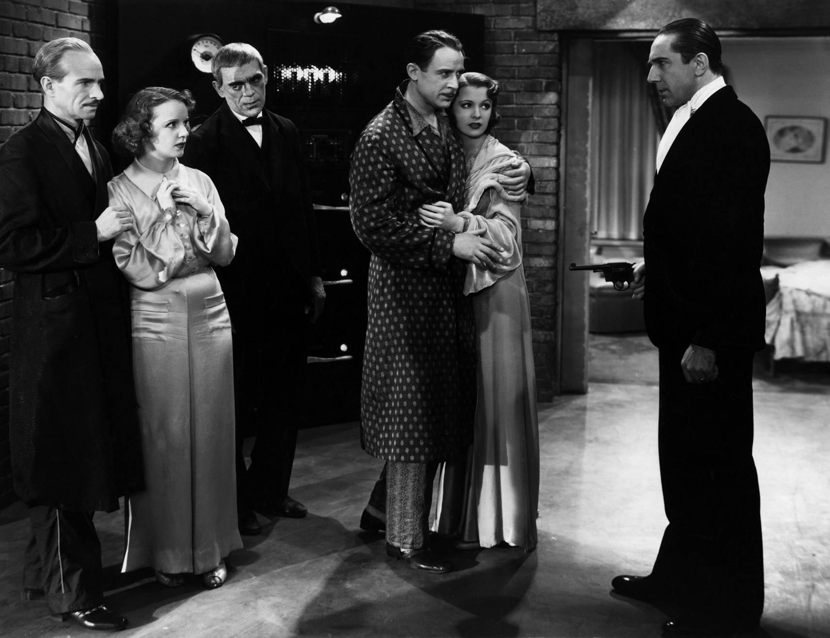 (L to R) Ian Wolfe, Inez Courtney, Boris Karloff, Lester Matthews, Irene Ware, Bela Lugosi