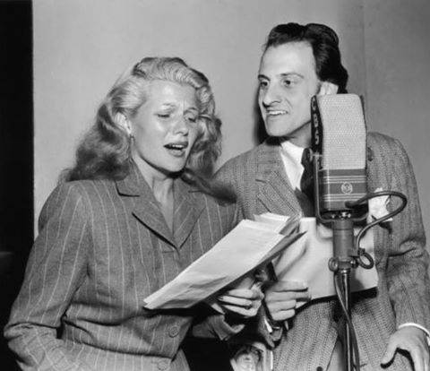 Rita Hayworth and Hans Conried on the air.