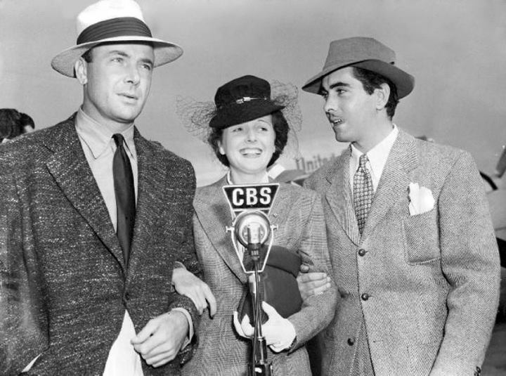 Dean Jagger, Mary Astor and Tyrone Power, guests on the Kate Smith Radio Hour. August, 1940