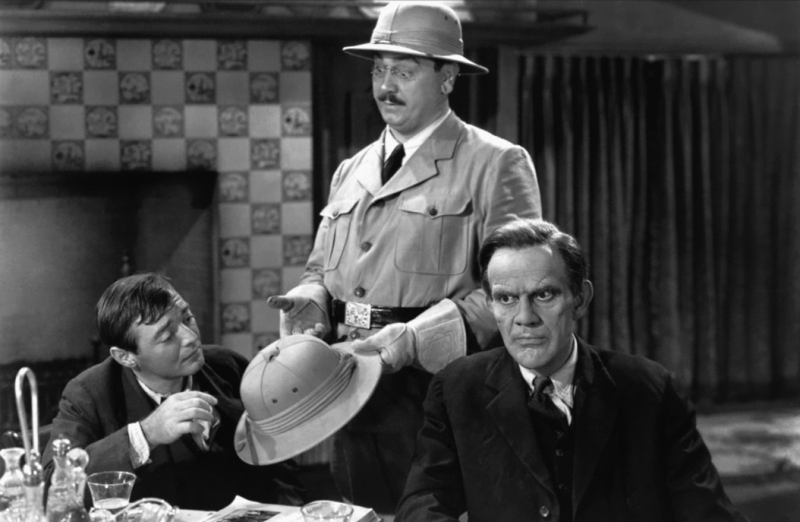 Raymond Massey with  Peter Lorre and John Alexander.