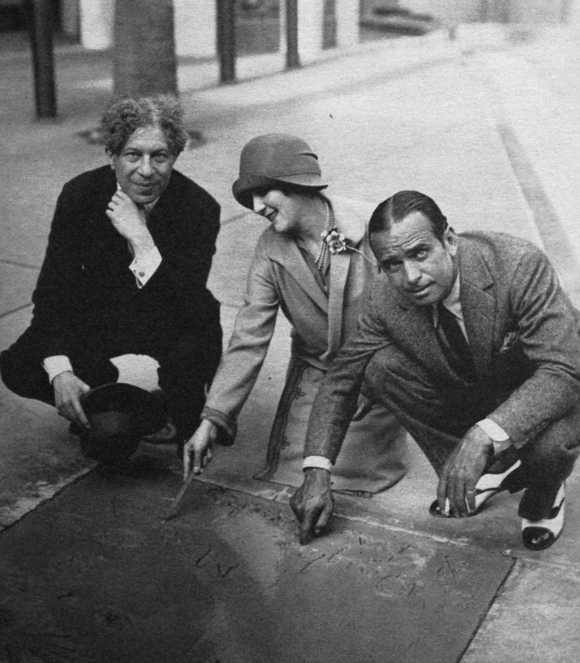 The first ceremony at Grauman's Chinese Theater immortalizing the stars' hand/footprints in cement occured today in 1927. Mary Pickford and Douglas Fairbanks Sr leave their imprints