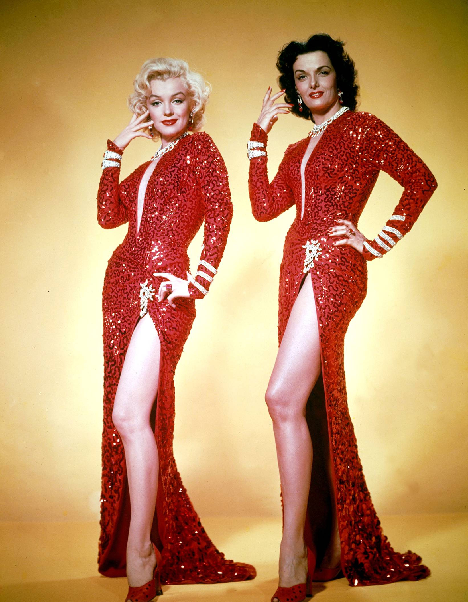 Marilyn Monroe With Jane Russell (L)