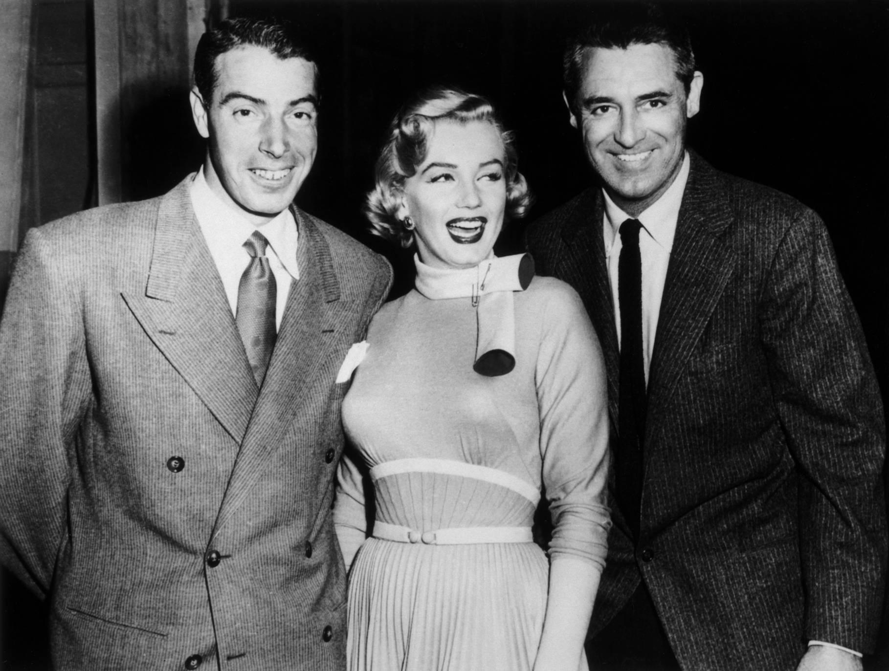(L to R) Joe DiMaggio, Marilyn Monroe, Cary Grant