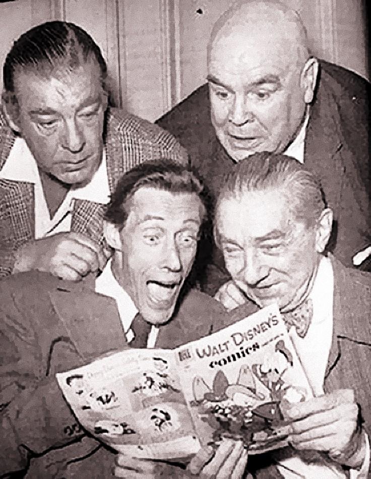 Lon Chaney Jr., Tor Johnson, John Carradine, and Bela Lugosi reading a Carl Barks Donald Duck comic.