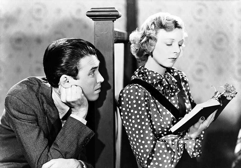 Margaret Sullavan! with Jimmy Stewart in a scene from The Shop Around the Corner.