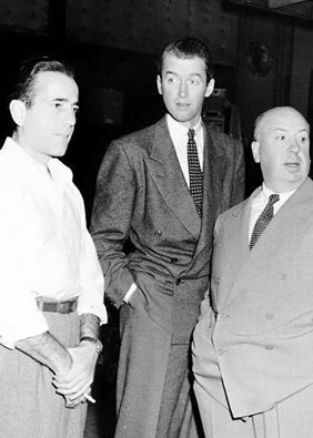 Jimmy Stewart, with Humphrey Bogart and Alfred Hitchcock on the set of Rope.