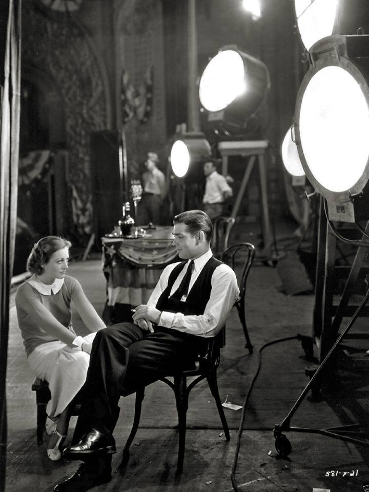 Joan Crawford and  Clark Gable on the set of