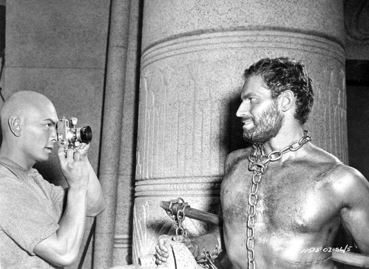 Yul Brynner and Charlton Heston on the set of