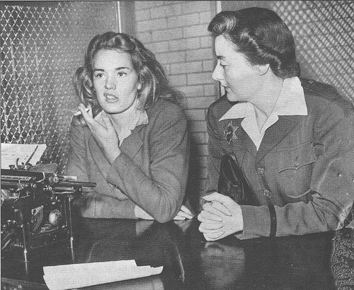 Frances Farmer with a police matron after her arrest.