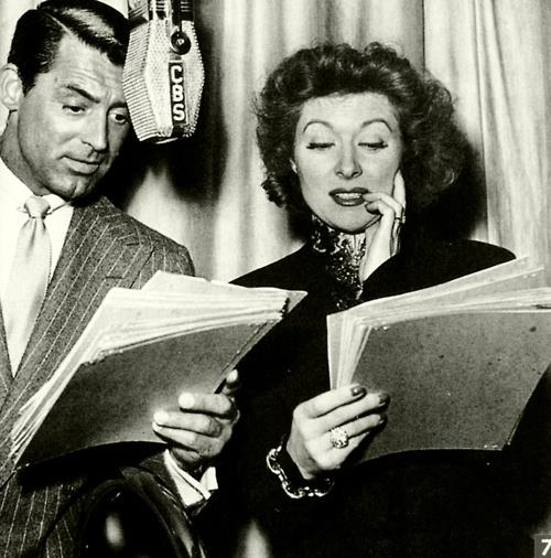 Cary Grant and Greer Garson during a Lux Radio Theatre broadcast, 1945