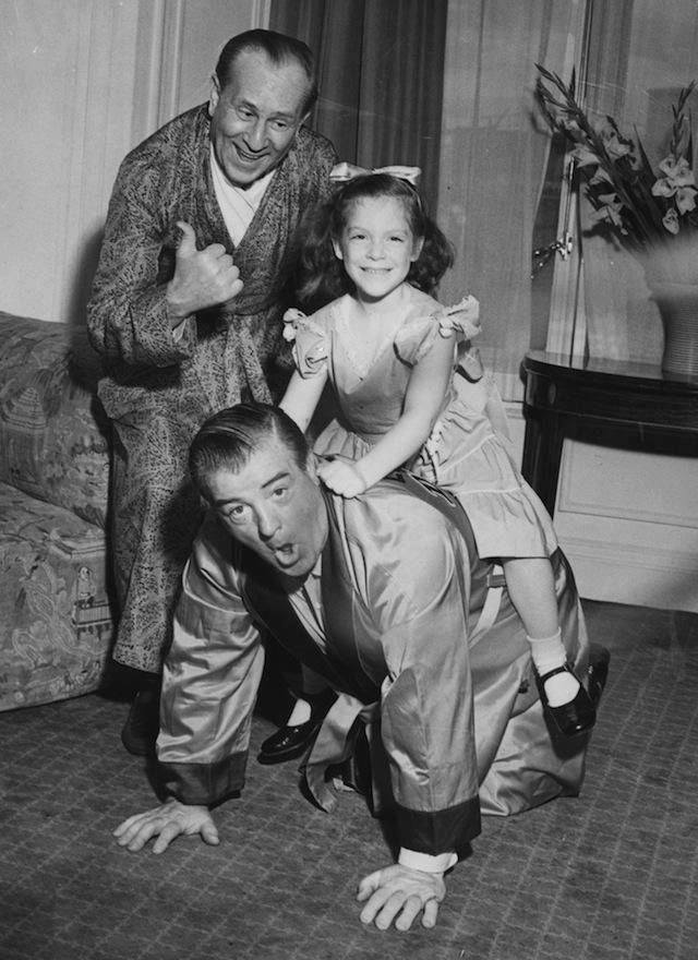 Bud Abbott with Lou Costello and his daughter Christie