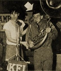 An early picture of Dick (Richard) Crenna when he was on a program on KFI in Los Angeles when he was a Boy Scout. (The arrow points to him.)