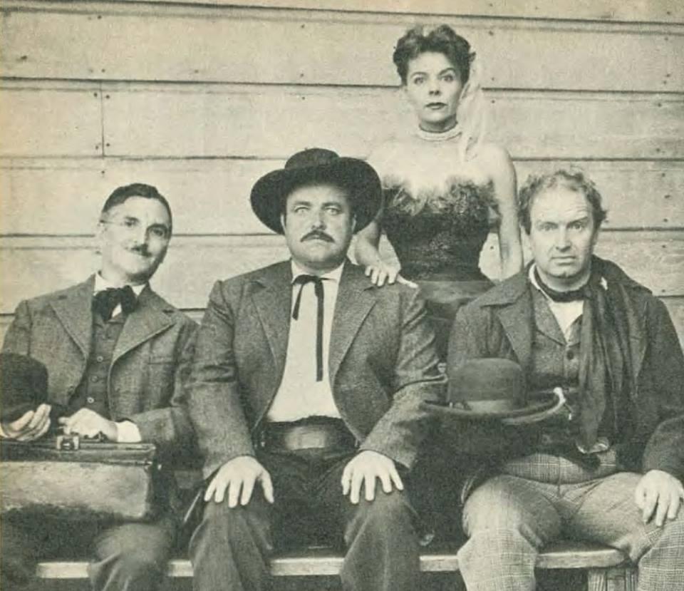 The Gunsmoke radio cast: Howard McNear (Doc), Bill Conrad (Matt), Georgia Ellis (Kitty), and Parley Baer (Chester).