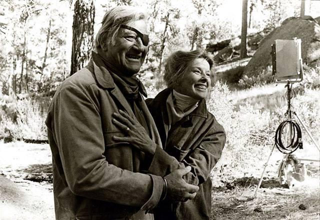 John Wayne and Katharine Hepburn