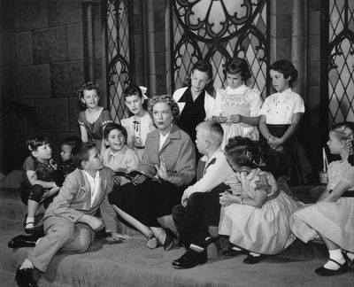 Eleanor Powell on the set of her first-of-its-kind television program for children, Faith of Our Children.