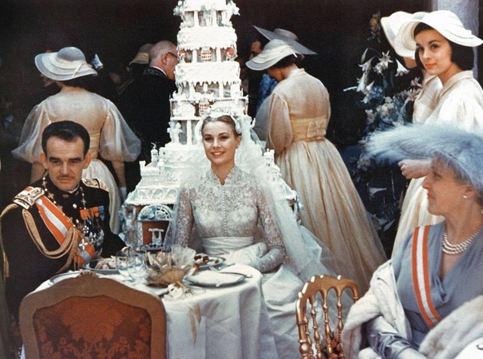 Grace Kelly having dinner on her wedding day.