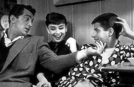 Jerry Lewis, Dean Martin, and Audrey Hepburn.