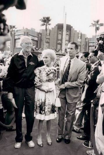 Hitchcock icons Jimmy Stewart, Janet Leigh and Anthony Perkins at Universal Studios in Orlando, 1990. Leigh was born today in 1927.