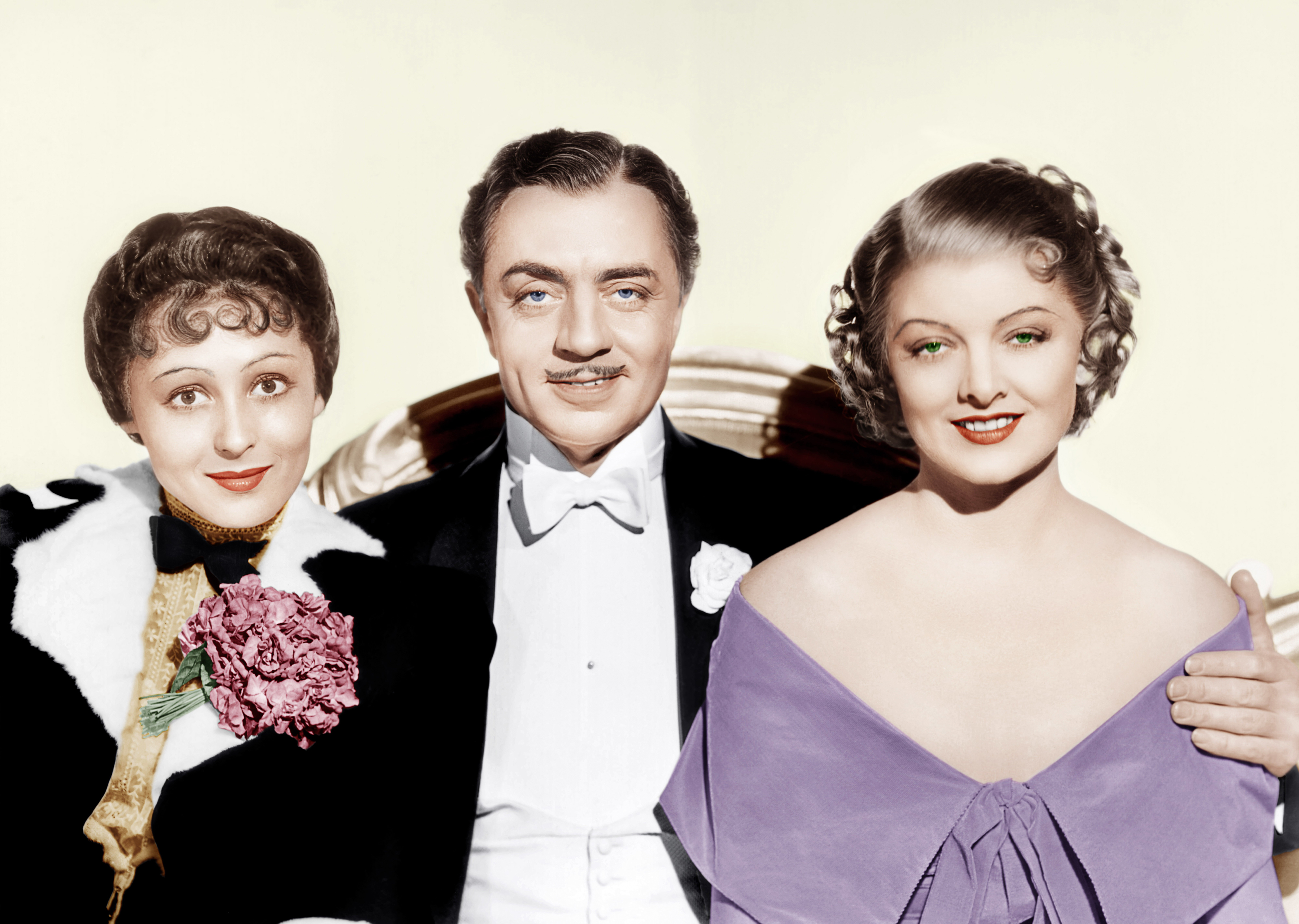 William Powell in The Great Ziegfeld with (L to R) Luise Rainer, William Powell, Myrna Loy